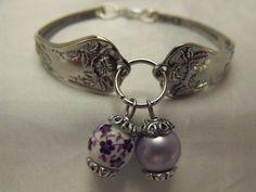 Silver Spoon Bracelet Porcelain Lavender Flower and by AGothShop, $25.00