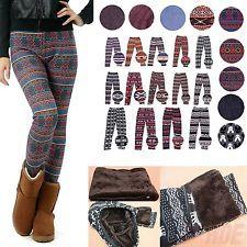 Women Warm Winter Knit Snowflake Nordic Leggings Xmas Tight Fleece Stretch Pants