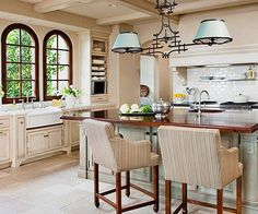 European Style Dream Kitchen Beautiful and practical, this kitchen in La Jolla, California, features finishes, materials, and designs reminiscent of European kitchens.