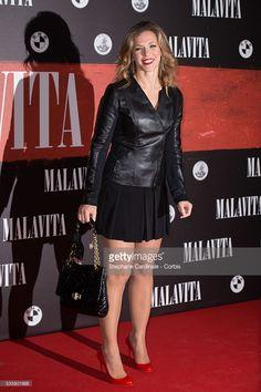 Singer Lorie attends the 'Malavita' premiere at Europacorp Cinemas at. Laura Lee, Grace Jones Bond, Belle Photo, Leather Skirt, Beautiful Women, Singer, Actresses, Shopping, Celebrities