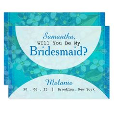Blue Watercolor Floral Will You Be My Bridesmaid Card - will you be my bridesmaid diy customize personalize design idea card cards wedding bride