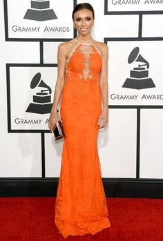 Giuliana Rancic Orange Lace Evening Prom Gown Celebrity Dress Grammys 2014