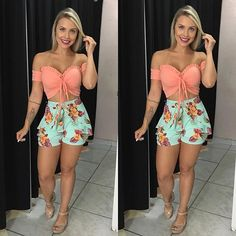 Cropped 25.00 Short 39.99 ** 13 jan  dom. passeio na praia depois das 5 ate jantar👉 tb dia 20 jan dom. De manhã ate as 4 ** Cute Swag Outfits, Short Outfits, Fall Outfits, Summer Outfits, Short Dresses, 18th Birthday Outfit, Boho Fashion, Girl Fashion, Music Festival Outfits