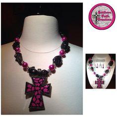 Black+Nugget+Pink+Pearl+Pink+Black+Cross+by+SFaithCreations,+$28.00