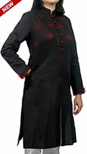 Women Corporate Kurtas,Indian Concepts,Corporate Black Hand Embroidered Corporate Kurta