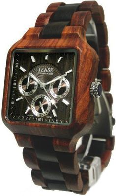 Tense Mens Multi-Eye Date Time Month Square Wood Watch B7305SD-W DF:Amazon:Watches