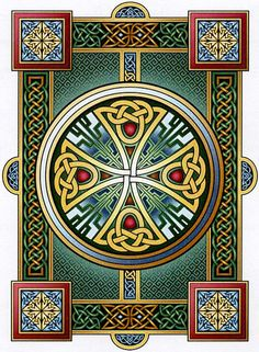 """Durrow"" Cross Stitch Pattern - A classic example of Celtic art, inspired by centuries-old illuminated manuscripts. The jewel-like colors and delicate shading make this pattern come alive. Start stitching your masterpiece today! Cross Stitching, Cross Stitch Embroidery, Cross Stitch Patterns, Hand Embroidery, Embroidery Patterns, Celtic Symbols, Celtic Art, Celtic Dragon, Celtic Knots"