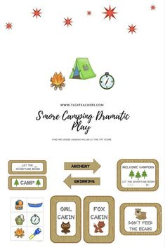 Oh Camping we will go! Let the outdoor adventure begin with these adorable camping printables and a few extra camping items and ideas for your play area or classroom decorations. This camping unit is perfect for preschoolers and kindergartens in the drama Beach Theme Preschool, Preschool Themes, Preschool Math, Subitizing Activities, Phonemic Awareness Activities, Camping Dramatic Play, Print Awareness, Handwriting Activities, Camping Items