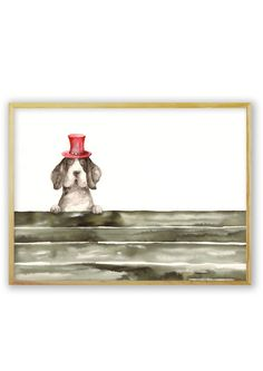 A dog on a fence, wearing a funny, tiny, red top hat, painting, watercolors on paper