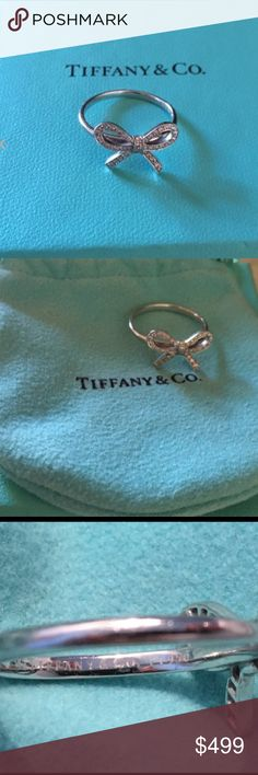 AUTHENTIC Tiffany & Co Diamond Platinum Bow Ring This ring is probably almost a decade old---as pics show minimal scratches---but could use a professional cleaning size 5 Diamond .10 Tiffany & Co. Jewelry Rings