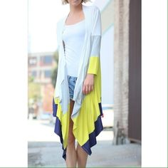 Color Block Long Cardigan Solid knit. 96% polyester 4% spandex Jackets & Coats