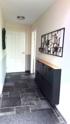The color combination looks good. Black, white, gray and wood Pinterest Home, Color Combinations, Home Kitchens, My House, Tile Floor, Diy Home Decor, Home And Garden, Black And White, Ideas