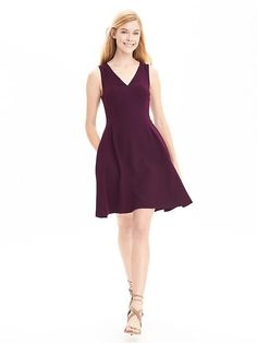 V-Neck Fit-and-Flare Dress