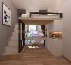 Lit mezzanine design de U Home Interior Design Design Hochbett Ho Mezzanine Design, Design Loft, Home Room Design, Design Design, 2 Bedroom House Design, Attic Design, Room Ideas Bedroom, Small Room Bedroom, Home Bedroom