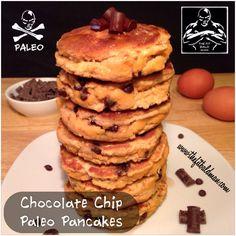 chocolate chip paleo pancakes 1/2 cup coconut flour 1/4 cup unsweetened apple sauce 2 tsp pure vanilla extract 1/2 cup unsweetened almond coconut milk 4 eggs 1 tsp baking soda 1 tsp cinnamon 2 TBS Enjoy Life vegan chocolate chips