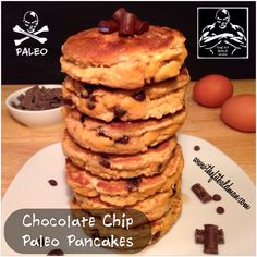chocolate chip paleo pancakes 1/2 cup coconut flour 1/4 cup unsweetened apple sauce 2 tsp pure vanilla extract 1/2 cup unsweetened almond coconut milk 4 eggs 1 tsp baking soda 1 tsp cinnamon 2 TBS Enjoy Life vegan chocolate chips