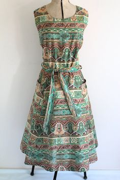 1970s Summer cotton dress in a 1950s style by twosquirrelsvintage