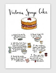 Victoria Sponge Cake Recipe Kitchen Art Print ( I should start doing ArT Prints too! Food Cakes, Cupcake Cakes, Cupcakes, Victoria Sponge Kuchen, Baking Recipes, Dessert Recipes, British Baking Show Recipes, Recipes Dinner, Victoria Cakes