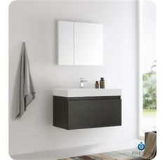 Fresca Senza Wall Mounted / Floating Vanity Set with MDF Cabinet Black Bathroom Storage Vanity Sets Single Wall Mounted Medicine Cabinet, Wall Mounted Vanity, Vanity Drawers, Vanity Sink, Vanity Stool, Single Bathroom Vanity, Modern Bathroom, Black Bathrooms, White Bathroom