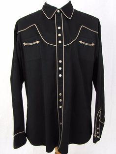 Scully Western Shirt XL Black Pearl Snap Arrow Pocket Yoke Cowboy Gunslinger #Scully #Western