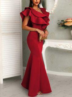 Shop Evening Dresses Deep V Layered Ruffles Fishtail Evening Dress Ruffle Dress, Ruffles, Ruffle Sleeve, Petal Sleeve, Flutter Sleeve, Plain Dress, Bridesmaid Dresses, Prom Dresses, Trend Fashion