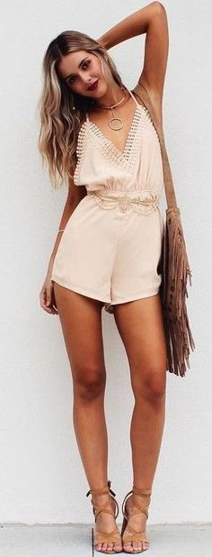 #summer #musthave #outfits  Lovely Nude Playsuit