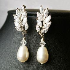 Wedding Bridal Earrings, Swarovski Pearl Bridal Drop Earrings, Rhinestone Leaves Wedding Earring, Vintage Inspired Bridal Jewelry, Blake. $65.00, via Etsy.