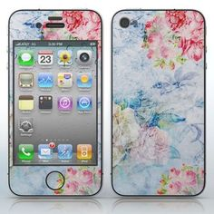 Rose Rain  Pink roses on blue phone skin sticker for Cell Phones / Apple iPhone 4/4S/4G | $7.95