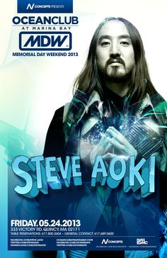 #Tonight in #Quincy MA: STEVE AOKI at #OCEANCLUB - Fri May 24, 2013