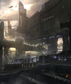 Cyberpunk Atmosphere, Futuristic City, Dark Future, Dystopia, Future Architecture, Sci-Fi, 'Port' by Jung Park