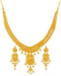 22kt Gold Necklace Earring Set Stgo17781 Us 2 511 Indian Style Net Pattern