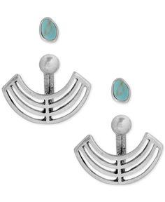Lucky Brand Silver-Tone Stone Stud Openwork Earring Jackets
