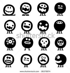 Collection Of Cartoon Funny Vector Monsters Silhouettes - 86378974 : Shutterstock