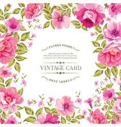 Flower label on the vintage card vector by Kotkoa on VectorStock®