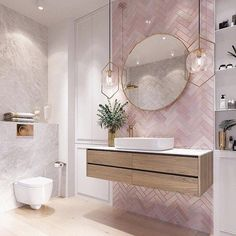 Modernes Badezimmer Modern pink bathroom vanity design, The va Bathroom Vanity Designs, Bathroom Interior Design, Bathroom Mirrors, Bathroom Cabinets, Marble Bathrooms, Bathroom Goals, Pink Bathroom Decor, Bathroom Canvas, Boho Bathroom