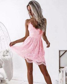 Pink Mini Dresses, Cute Dresses, Short Dresses, Lace Dress, White Dress, Short Mini Dress, Dresses Online, Minion, Backless