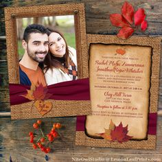 Fall in Love PHOTO Wedding Invitation with faux burlap and printed on wine ribbon and autumn leaves.
