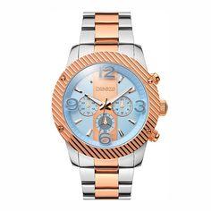 Γυναικείο αδιάβροχο ρολόι χρονογράφος BREEZE Color-Blocking σε δίχρωμο  ατσάλινο και ροζ επίχρυσο μπρασελέ  6128ddb3323