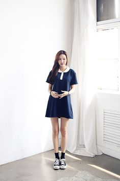 Shop for Collar Line Dress at Korean Fashion Store. Find more Korean dresses and other trending Korean clothing at our online store. We are adding new styles everyday so come take a look! Korean Fashion Winter, Korean Street Fashion, Asian Fashion, Fashion Black, Gyaru Fashion, Modern Hijab Fashion, Kpop Outfits, Korean Outfits, Fashion Clothes