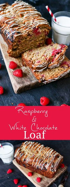 Raspberry and white chocolate loaf - no mixer required for this moist and fruity cake. There are two whole punnets of raspberries, PLUS raspberry yogurt in this fruity loaf. That's some serious berryness! Pinterest Dessert Recipes, Baking Recipes, Cake Recipes, Bread Recipes, Healthy Recipes, Chocolate Loaf Cake, Dessert Parfait, Cake Packaging, Raspberry Recipes