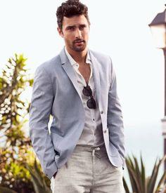 Groom: light blue Linen Blazer, white shirt, khaki pants