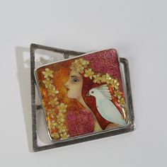 Cloisonne enamel necklace - Girl and pigeon by TatiaEnamel on Etsy https://www.etsy.com/listing/260534309/cloisonne-enamel-necklace-girl-and