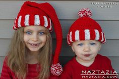 FREE Crochet Santa Hat (Elf Pixie) + Vid pattern on Craftsy.com