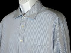 Joseph Abboud Men's Light Blue Dark Blue Stripes Cotton Button Shirt Sz 18 36-37 #JosephAbboud #ButtonFront