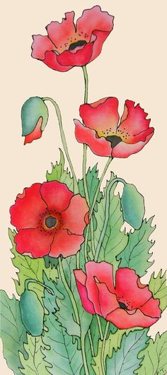 Pauline Townsend - Silk Painter I have never heard of silk painting Watercolor Cards, Watercolour Painting, Watercolor Flowers, Painting & Drawing, Poppies Painting, Watercolors, Motif Art Deco, Red Poppies, Canvas Paintings