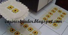 Carine Strieder e seus Crochês: Jogo de Banheiro de Crochê com Flor de Girassol