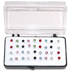 "Set Of 36 1/8"" Crystal Stud Earrings, 18 Pairs, On Nylon ... http://diamondproguide.com/earring-buying-guide/"