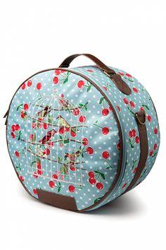 Blutsgeschwister - Birdcage Cherry Blue Polka Chapeau Hat Case Bag #topvintage