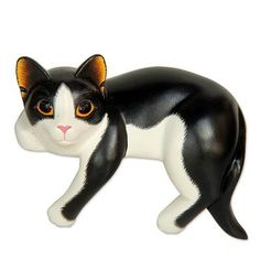 Wood sculpture, 'Tuxedo Cat Relaxes' - Signed Balinese Tuxedo Cat Sculpture