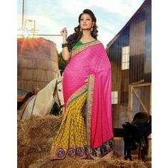 Yellow & Pink Viscose / Georgette Saree